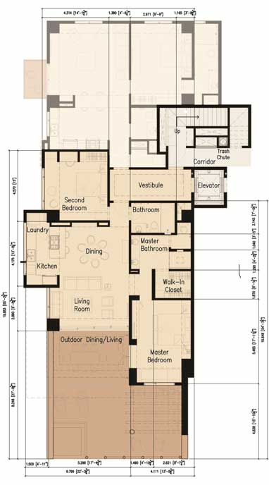 2 bedroom / 2 bath Floor plan